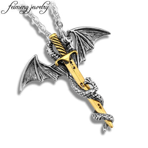 Game of Throne Necklace Flying Dragon With Wings Rolled Sword Choker Cross Pterosaur Vintage Bronze Pendant Necklaces Jewelry