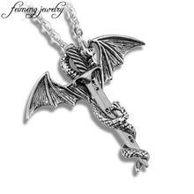 Cargar imagen en el visor de la galería, Game of Throne Necklace Flying Dragon With Wings Rolled Sword Choker Cross Pterosaur Vintage Bronze Pendant Necklaces Jewelry