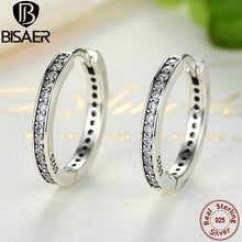 Cargar imagen en el visor de la galería, Genuine 925 Sterling Silver Eternity Round Hoop Earrings For Women Ear Cuff Brincos Sterling Silver Brand Fine Jewelry GOS456