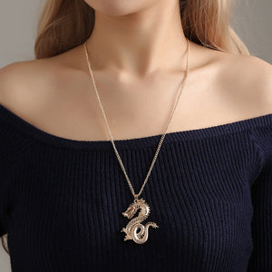 Gold Color Alloy Dragon Pendant Necklace Vintage Red Crystal Eyes Sweater Chain for Women Lovers Fashion New Necklace