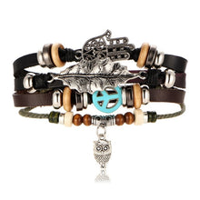 Load image into Gallery viewer, IF ME BOHO Tibet Stone Feather Multilayer Leather Bracelet Eye Fish Charms Beads Bracelets for Men Vintage Punk Wrap Wristband