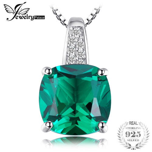 JewelryPalace Cushion 3.4ct Created Green Emerald Solitaire Pendant 925 Sterling Silver Fine Jewlery Without The Chain