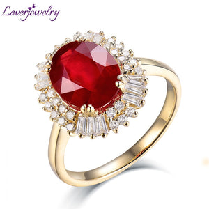 Lady Classic Rings Jewelry Solid 14Kt Yellow Gold 3.83ct Diamond Natural Red Ruby Wedding Ring For Women Engagement Gift