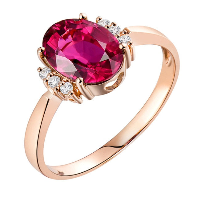 Loverjewelry 14K Rose Gold Natural Diamond Pink Tourmaline Genuine Gemstone Ring Jewelry Wedding Party Rings For Women Gift