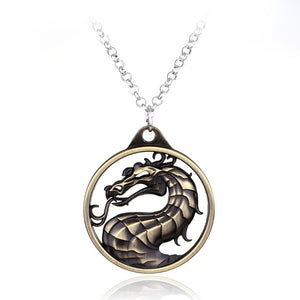 Movie Jewelry Fighting Games Mortal Kombat necklace dragon Jane Empire Vintage Big Pendant For Men Women Christmas Cosplay Gift