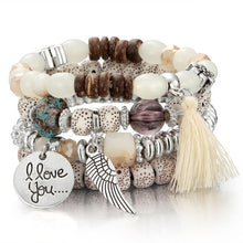 Load image into Gallery viewer, Natural Stone Beads Bracelets For Women Wing Tassel Charm Bracelets & Bangles Set Boho Vintage Jewelry pulseras mujer moda 2018