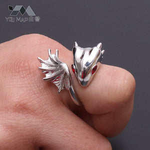 New Unisex Personality Exaggerated Copper Rhinestone Eyes Dragon Rings Open Resizable Ring Gift for Lover Birthday Mother's Day