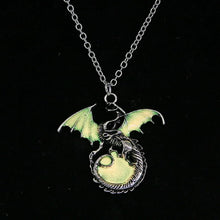Load image into Gallery viewer, Retro Dragon Glow in the Dark necklace Silver Chain Jewelry Ancient Dragon Pendants & Necklaces Mens Punk Dragon Necklace