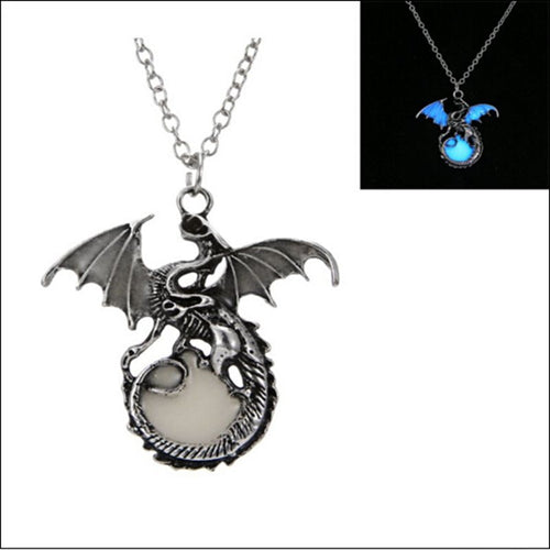 Retro Dragon Glow in the Dark necklace Silver Chain Jewelry Ancient Dragon Pendants & Necklaces Mens Punk Dragon Necklace