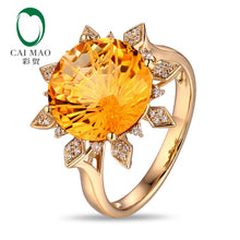 Cargar imagen en el visor de la galería, Sun Shape Citrine Ring 12mm Round 7.05ct Citrine 14K Yellow Gold Engagement Ring