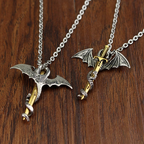 dongsheng Cool Pendant Chain Long Pendant Necklace Pterosaur Sword Jewelry Men Necklace Dragon Punk Maxi Necklace-30