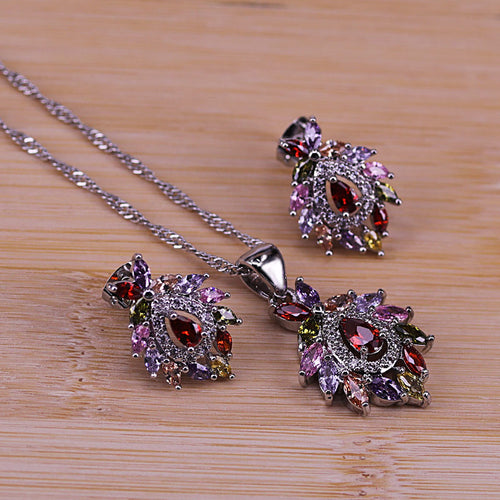 Artistic Vintage Cubic Zircon Jewelry Colorful CZ Crystal 925 Silver Pendant Necklace Earring Set for Women ST24.1
