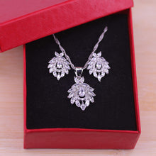 Load image into Gallery viewer, Artistic Vintage Cubic Zircon Jewelry Colorful CZ Crystal 925 Silver Pendant Necklace Earring Set for Women ST24.1