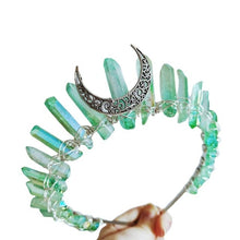 Load image into Gallery viewer, Boho Vintage Witch Tiara Faux Raw Crystal Headband Alloy Moon Angel Aura Crown C6UD
