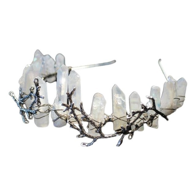 Women Crossed Faux Raw Crystal Queen Tiara Alloy Tree Branch Crown Aura Headband