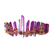 Carica l'immagine nel visualizzatore di Gallery, Women Crossed Faux Raw Crystal Queen Tiara Alloy Tree Branch Crown Aura Headband