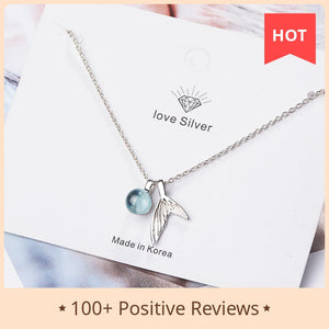 925 Sterling Silver Mermaid Pendant Necklace Blue Crystal Necklace For Women Fashion Jewelry New 2020
