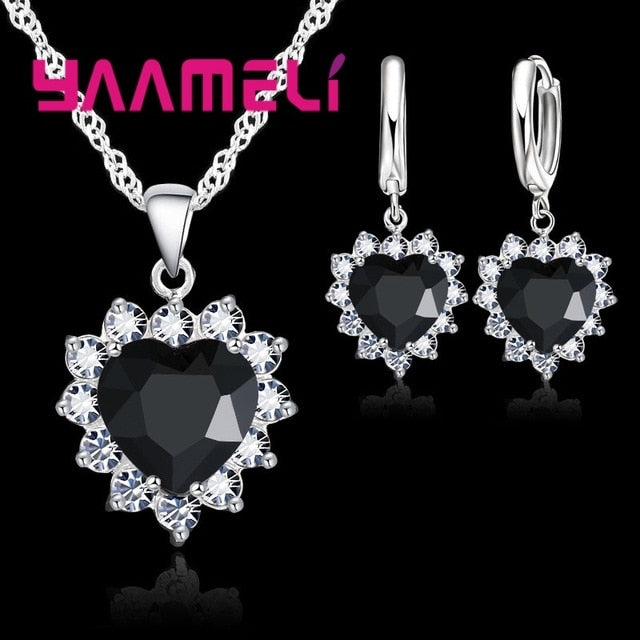 Trendy 925 Sterling Silver Jewelry Set for Women Heart CZ Stone Charm Pendants Necklaces Earrings LOVE Anniversary Gift