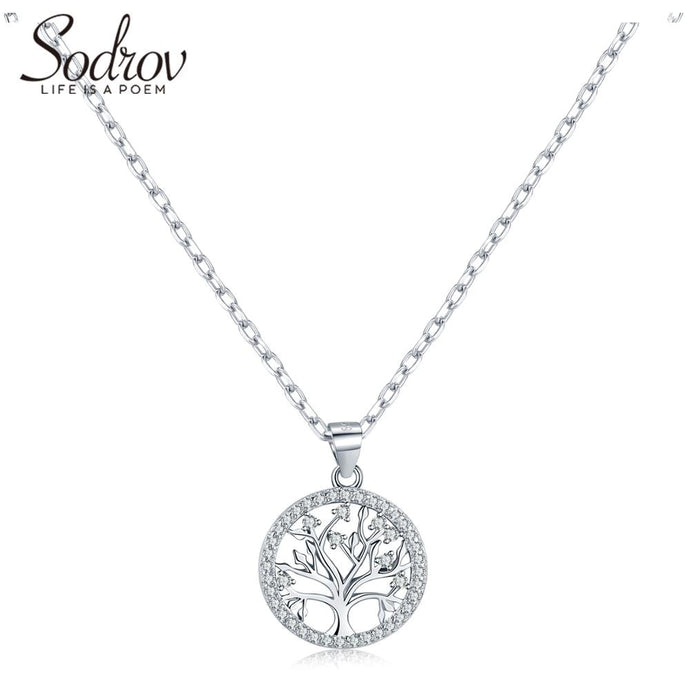 Sodrov Authentic 925 Sterling Silver DIY Life Tree Necklace Ladies Nature Lucky silver necklace silver 925 jewelry
