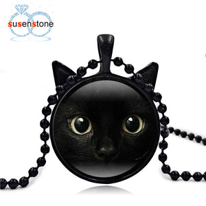 Halloween 2017 Vintage Enamel Cute painting Black Cat Necklace Pendant for pet lovers Glass Cabochon girl Gift Sweater Chains 40
