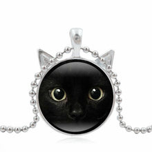 Load image into Gallery viewer, Halloween 2017 Vintage Enamel Cute painting Black Cat Necklace Pendant for pet lovers Glass Cabochon girl Gift Sweater Chains 40