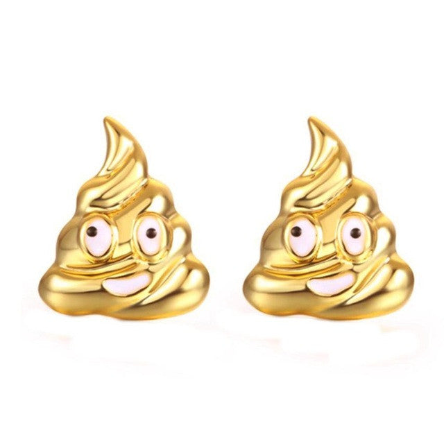 SUSENSTONE Earrings women Alloy creative fool expression emoji earrings gold / silver / rose gold