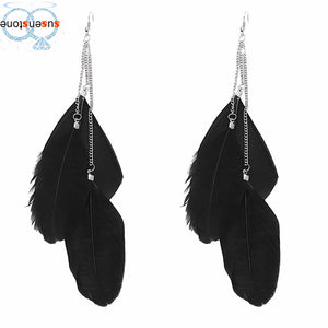 Bohemian Handmade Vintage Feather Long Drop Earrings