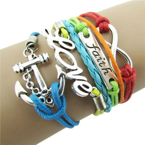 2016 new Colorful Infinity Friendship Love Anchor Leather Charm Bracelet DIY
