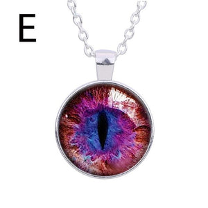 Retro cat's Eye Pendant Necklace Hot Dreamy Crystal Ball Star Long Glass Retro Pattern Pendant Necklace Jewelry #py30