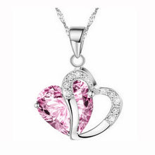 Load image into Gallery viewer, Fashion Women Heart Crystal Rhinestone Silver Chain Pendant Necklace Jewelry Pang heart Crystal Necklace #30