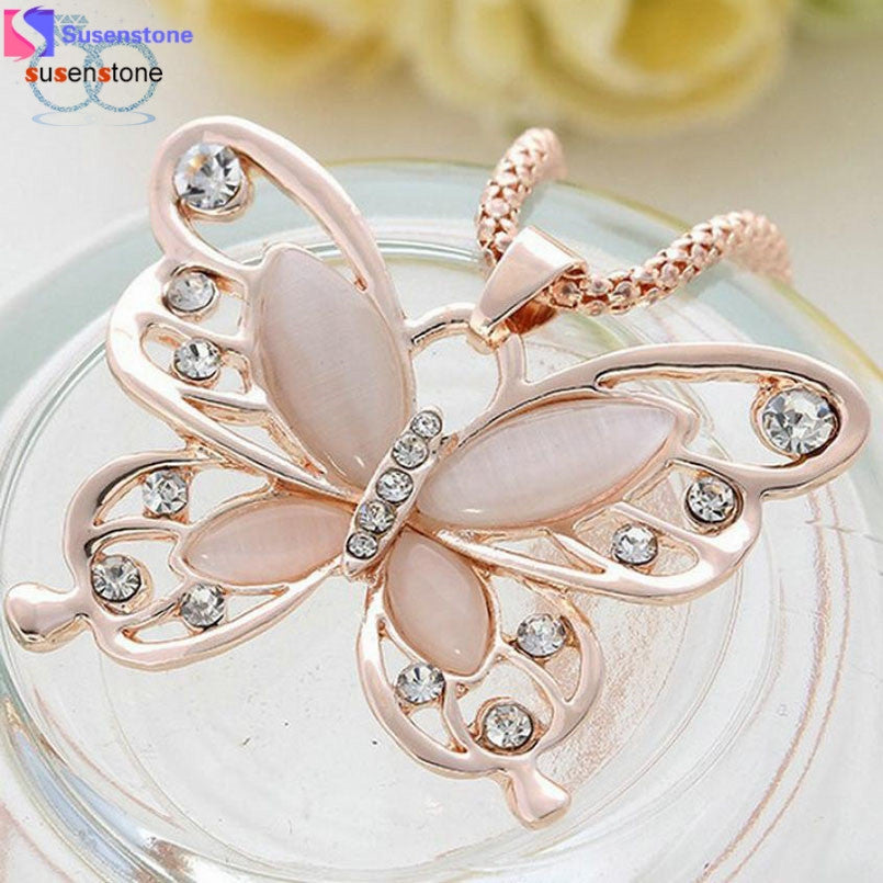 SUSENSTONE Fashion Womens Lady Rose Gold Opal Butterfly Pendant Necklace Sweater Chain Hot