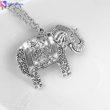 Load image into Gallery viewer, 2016 new arrival women kolye Fashion Elephants Pendant Sweater Chain Retro Silver Necklace girl vintage jewelry ornamentation