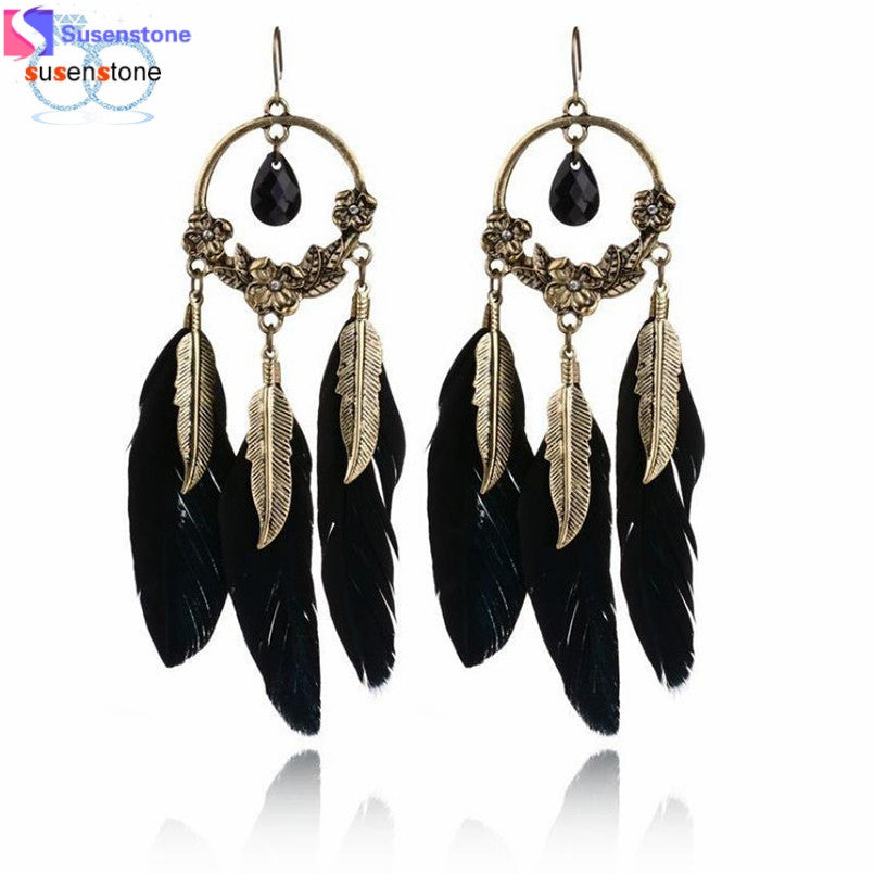 SUSENSTONE 1 Pair Fashion Women Ladies Earrings Vintage Feather Long Drop Earrings