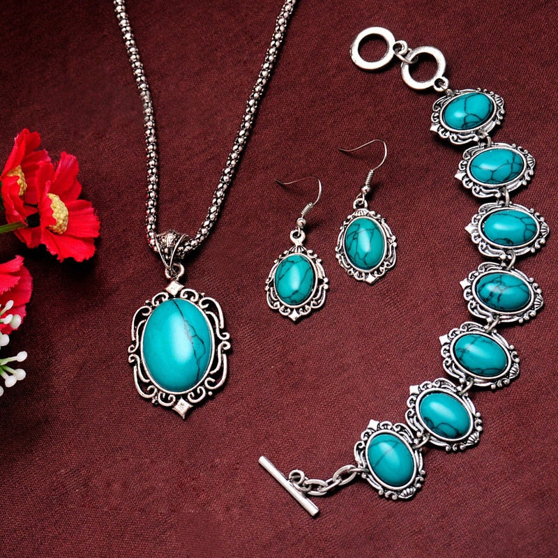 Fashion Silver Color Jewelry Set Vintage Stone Necklaces Bracelet Earring African Jewelry Sets for Women Women Bohemian Jewelry