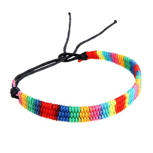 Women Braided Hand Rope Retro Nostalgic Handmade Colored Silk Cord Weave Colorful Hand Rope (Multicolor, Wide Side)