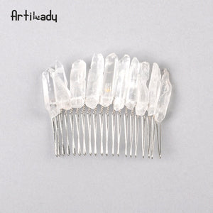 Artilady Raw Quartz Headband Wedding Tiara Hair Combs Crystal Comb Bridal Hair Accessories Healing Hairpins Jewelry Gift