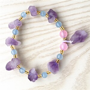 New 2pcs Natural Amethysts Energy Raw Ore Stone Purple Charoite Bracelet Bangle Quartz Crystal Jewelry Love Gift
