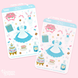 """Alice's Tea Time"" Matte & Clear Sticker Sheet - #SS02"