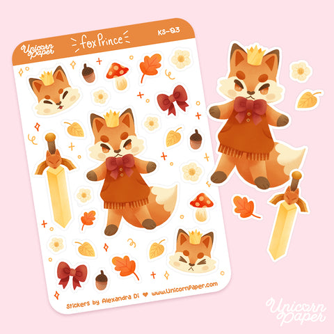 """Fox Prince"" Matte Sticker Sheet - #KS03"
