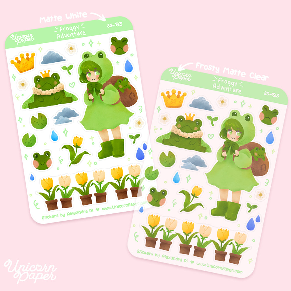 """Froggy Adventure"" Matte & Clear Sticker Sheet - #SS03"