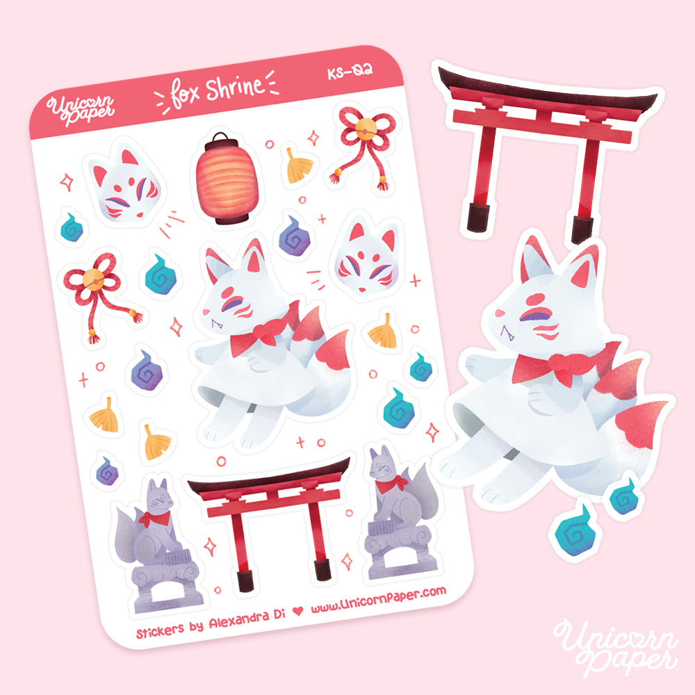 """Fox Shrine"" Matte Sticker Sheet - #KS02"