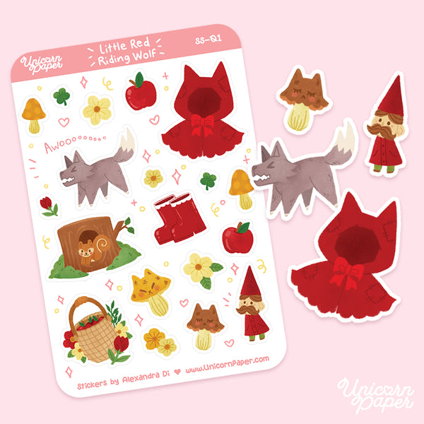 """Little Red Riding Wolf"" Matte & Clear Sticker Sheet - #SS01"