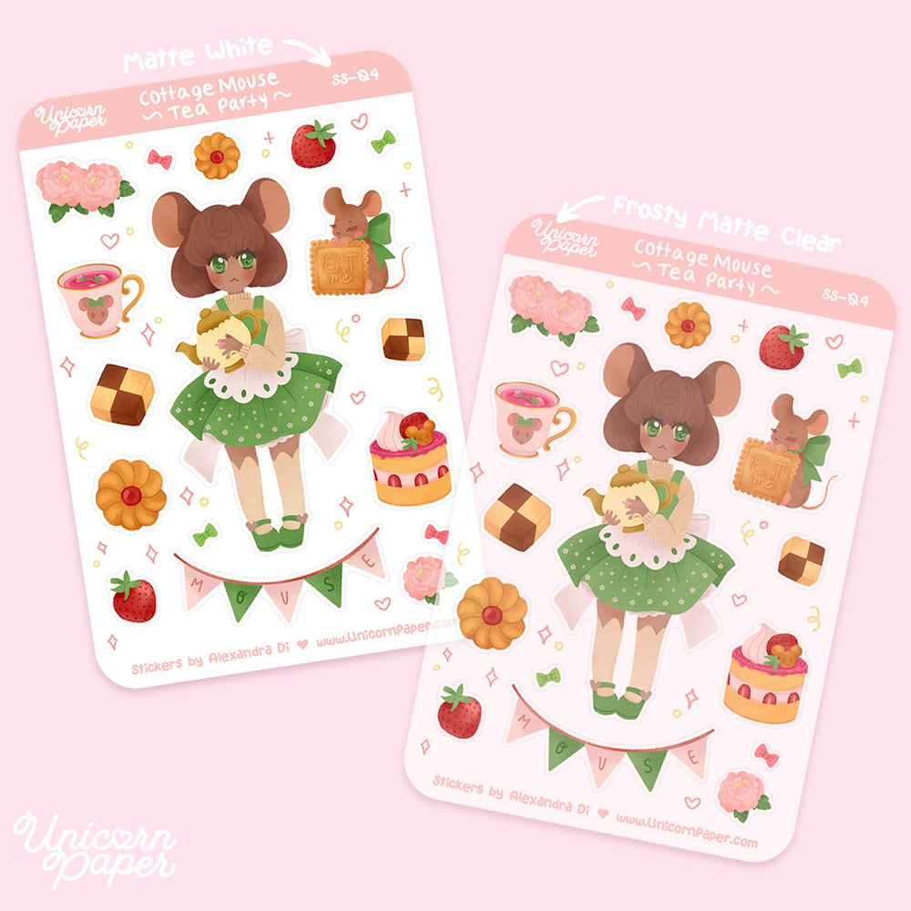 """Cottage Mouse"" Matte & Clear Sticker Sheet - #SS04"