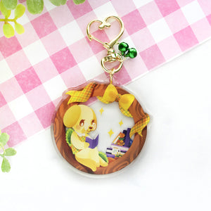 "Animal Crossing: Goldie ""Good Reads"" Keychain"