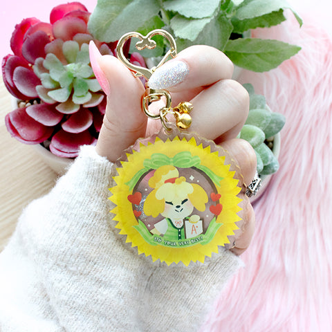 "Animal Crossing: Isabelle ""Do Your Very Best!""  Keychain"