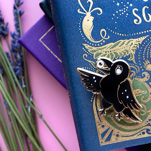 Crow Familiar Enamel Pin