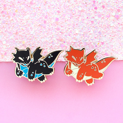 Fire and Plasma Baby Dragon Enamel Pins