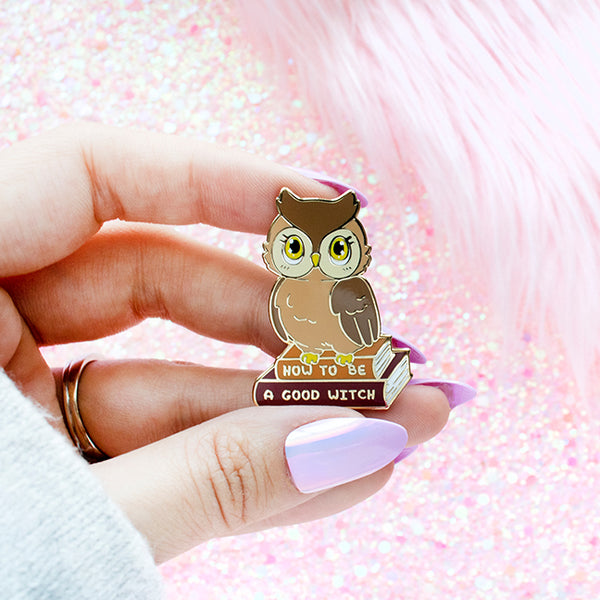 Snowy White and Brown Owl Enamel Pins