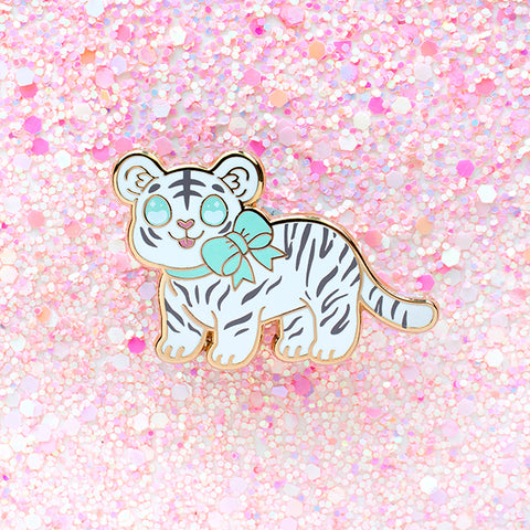 White Tiger Cub Enamel Pin