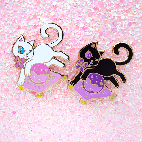 Black and White Cat Familiar Enamel Pins